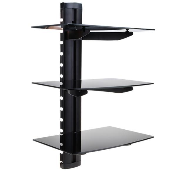 3 tier wall mount glass shelf holder tv component cable. Black Bedroom Furniture Sets. Home Design Ideas