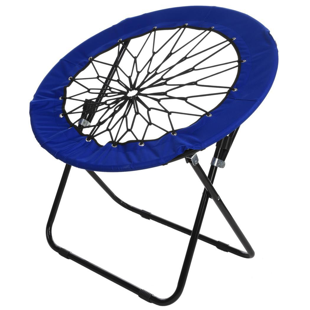 Dark Blue Elastic Bungee Folding Chair Camping Garden