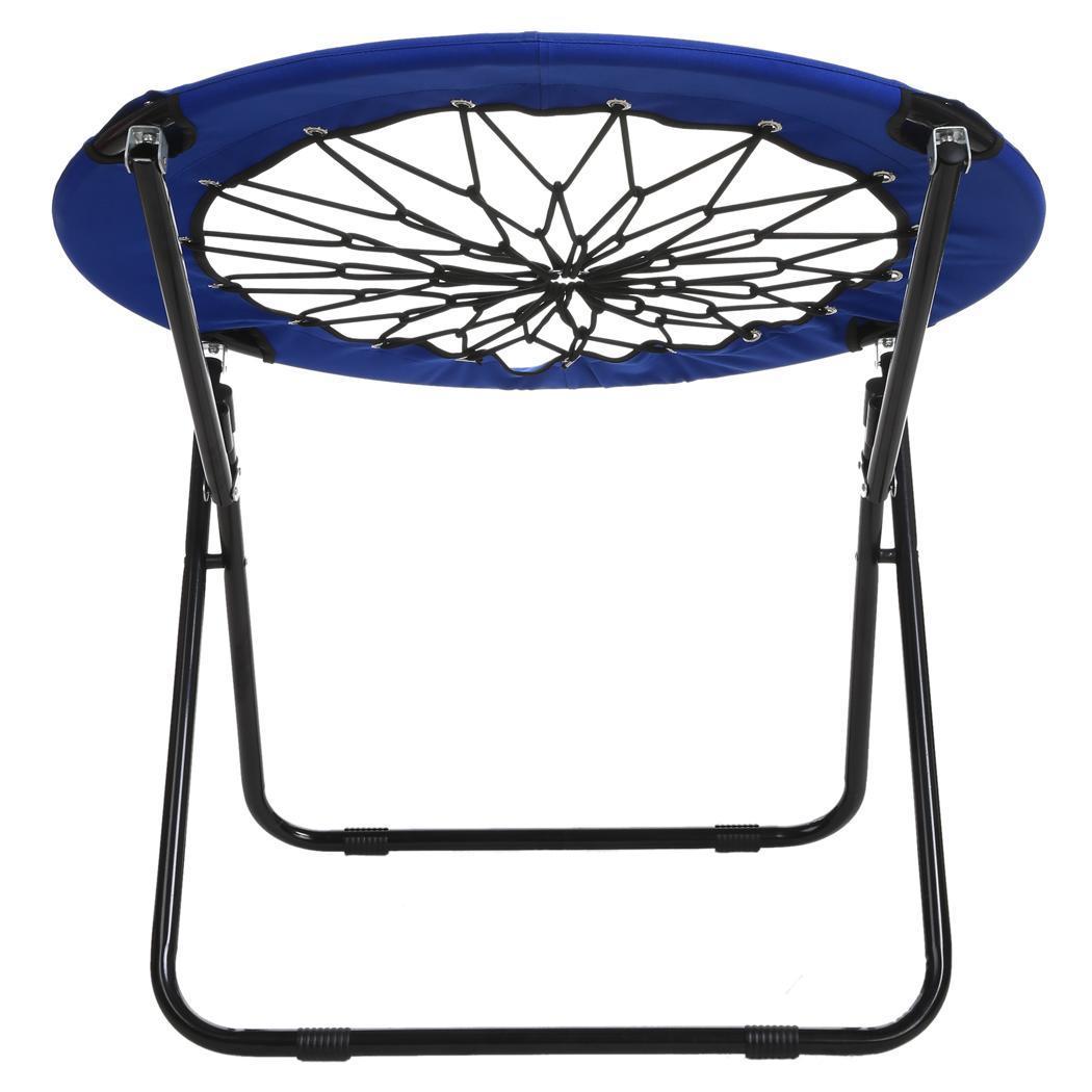 Dark Blue Elastic Bungee Folding Chair Camping Garden Outdoor Net Seat flexib