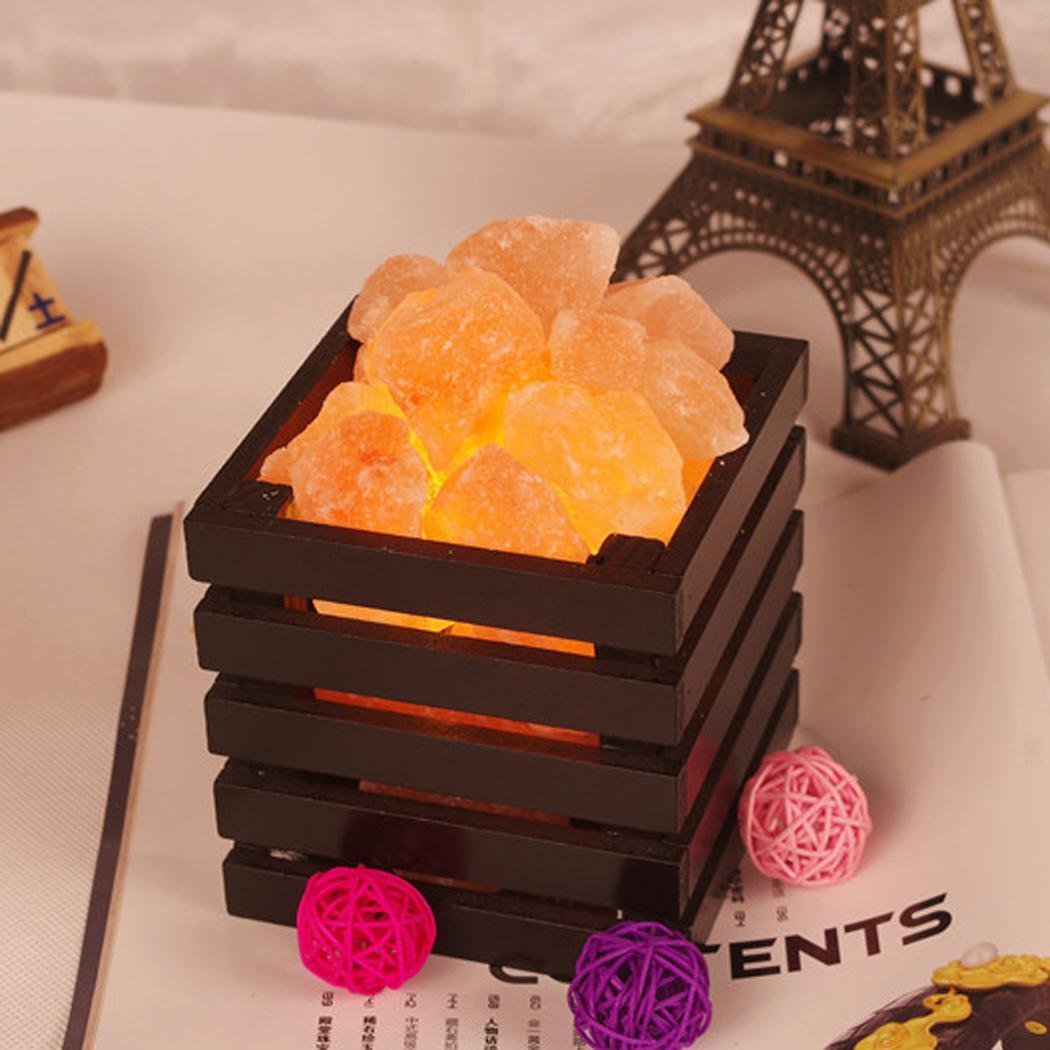 Himalayan 2 Colors Wood Basket Halite Ore Rock Salt Lamp Living Room BT7E eBay