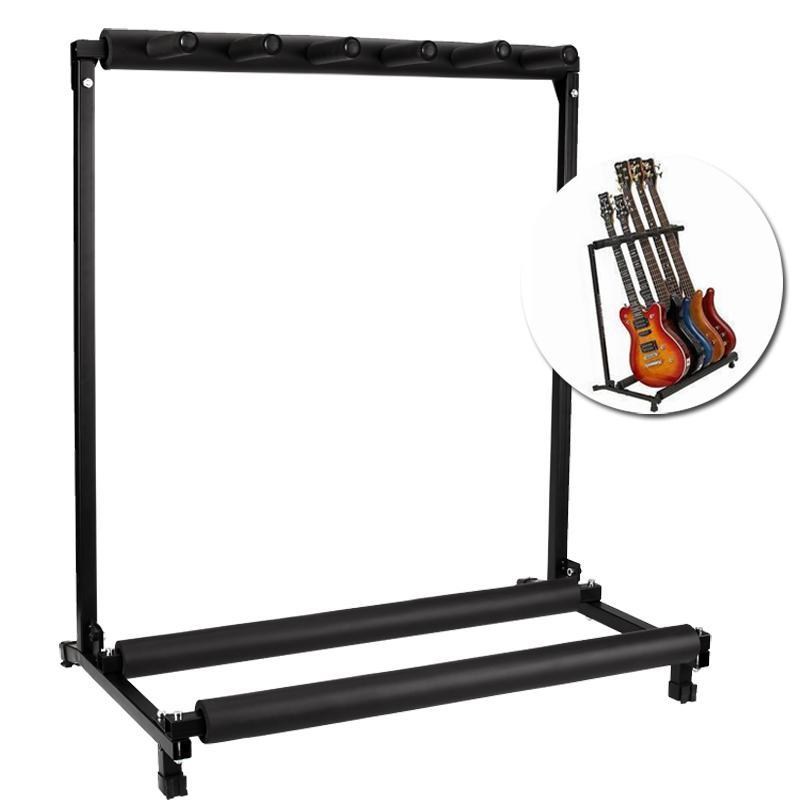 5 multiple guitar folding rack storage organizer electric acoustic stand holder ebay. Black Bedroom Furniture Sets. Home Design Ideas